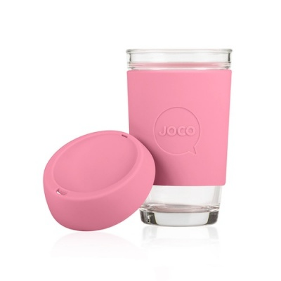 JOCO Cup Reusable Glass Coffee Cup 16oz - Strawberry Pink